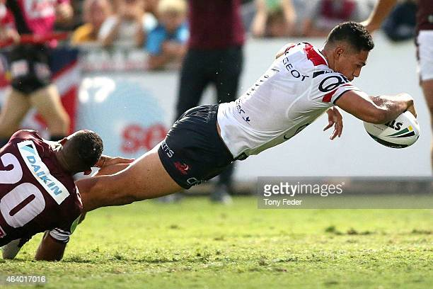 Roger Tuivasa-Sheck of the Roosters scores a try during the NRL Trial Match between the Sydney Roosters and the Manly Sea Eagles at Central Coast...