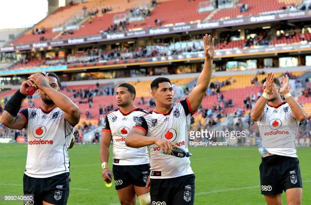 Roger TuivasaSheck of the Warriors and team mates celebrate victory after the round 18 NRL match between the Brisbane Broncos and the New Zealand...