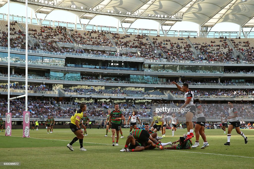 Roger Tuivasa-Sheck of the Warriors celebrates a try during the round one NRL match between the South Sydney Rabbitohs and the New Zealand Warriors at Optus Stadium on March 10, 2018 in Perth, Australia.