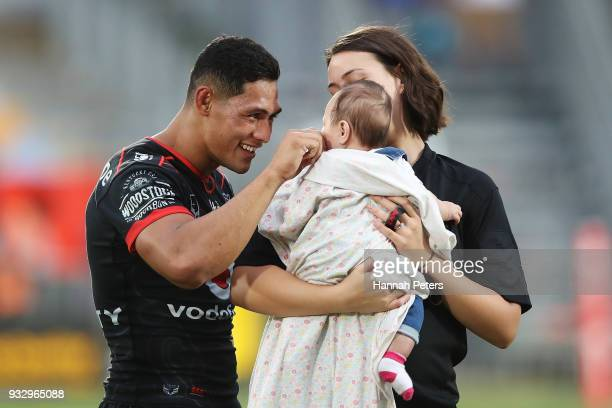 Roger TuivasaSheck of the Warriors celebrates after winning the round two NRL match between the New Zealand Warriors and the Gold Coast Titans at Mt...