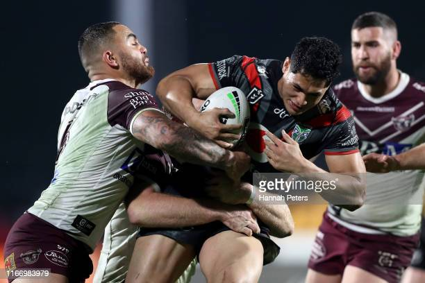 Roger Tuivasa-Sheck of the Warriors charges forward during the round 21 NRL match between the New Zealand Warriors and the Manly Warringah Sea Eagles...