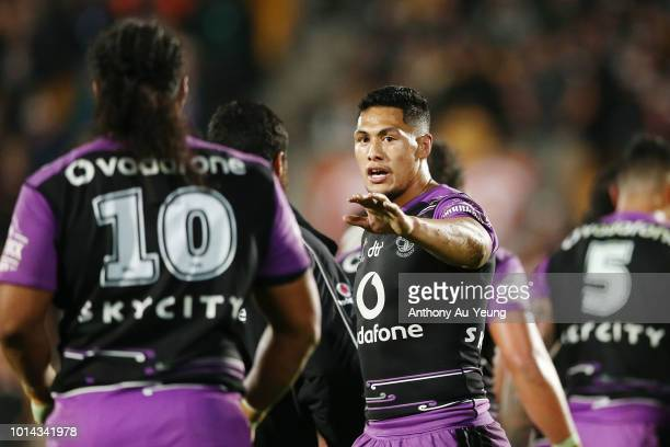 Roger TuivasaSheck of the Warriors cheers on his team during the round 22 NRL match between the New Zealand Warriors and the Newcastle Knights at Mt...