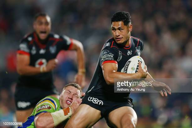 Roger TuivasaSheck of the Warriors is tackled during the round 25 NRL match between the New Zealand Warriors and the Canberra Raiders at Mt Smart...