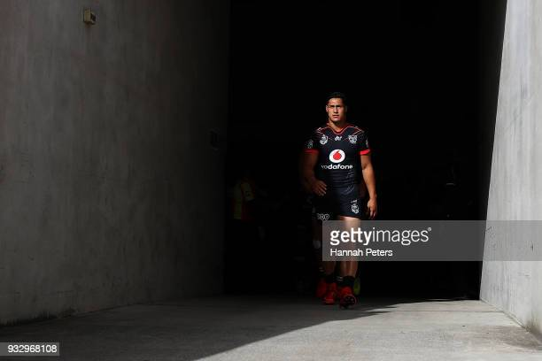 Roger TuivasaSheck of the Warriors leads the team out during the round two NRL match between the New Zealand Warriors and the Gold Coast Titans at Mt...