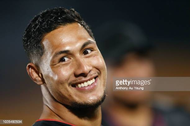 Roger TuivasaSheck of the Warriors looks on after winning the round 25 NRL match between the New Zealand Warriors and the Canberra Raiders at Mt...