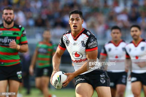 Roger TuivasaSheck of the Warriors looks to pass the ball during the round one NRL match between the South Sydney Rabbitohs and the New Zealand...