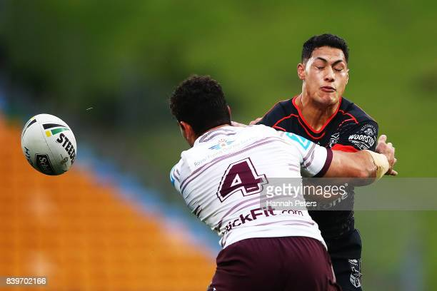 Roger TuivasaSheck of the Warriors loses the ball during the round 25 NRL match between the New Zealand Warriors and the Manly Sea Eagles at Mt Smart...