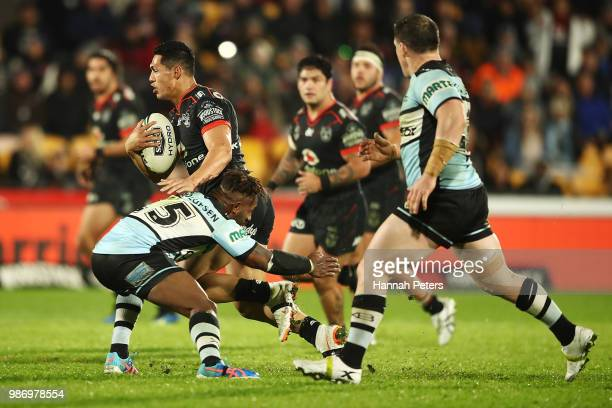 Roger TuivasaSheck of the Warriors makes a break during the round 16 NRL match between the New Zealand Warriors and the Cronulla Sharks at Mt Smart...