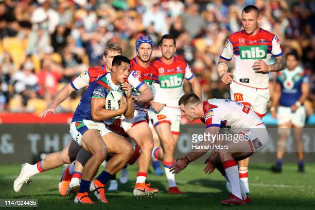 Roger Tuivasa-Sheck of the Warriors makes a break during the round eight NRL match between the New Zealand Warriors and the Newcastle Knights at Mt...
