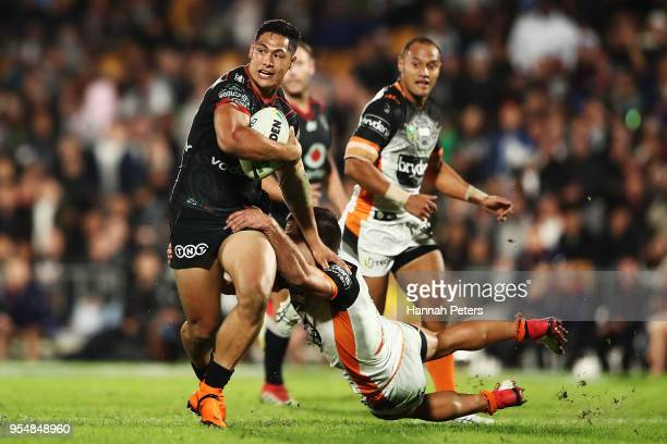 Roger TuivasaSheck of the Warriors makes a break during the round nine NRL match between the New Zealand Warriors and the Wests Tigers at Mt Smart...