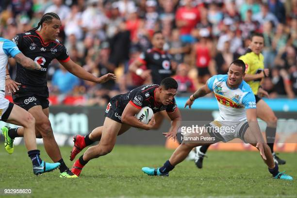 Roger TuivasaSheck of the Warriors makes a break during the round two NRL match between the New Zealand Warriors and the Gold Coast Titans at Mt...