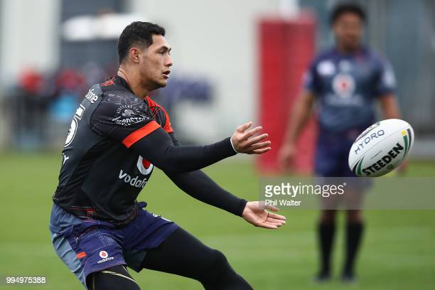 Roger TuivasaSheck of the Warriors passes during a New Zealand Warriors NRL training session at Mount Smart Stadium on July 10 2018 in Auckland New...