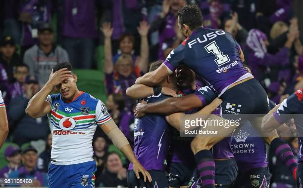 Roger TuivasaSheck of the Warriors reacts after the Storm score a try during the round eight NRL match between the Melbourne Storm and New Zealand...