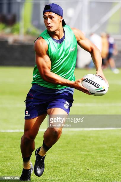 Roger TuivasaSheck of the Warriors runs through drills during a New Zealand Warriors NRL training session at Mt Smart Stadium on February 8 2018 in...