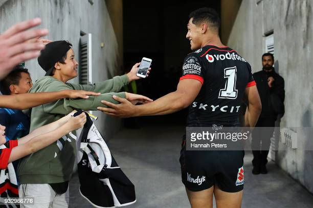 Roger TuivasaSheck of the Warriors thanks the crowd after winning the round two NRL match between the New Zealand Warriors and the Gold Coast Titans...
