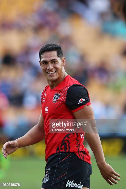 Roger TuivasaSheck of the Warriors warms up ahead of the round two NRL match between the New Zealand Warriors and the Gold Coast Titans at Mt Smart...