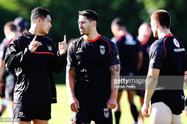 Roger Tuivasa-Sheck speaks with Shaun Johnson and Kieran Foran during a New Zealand Warriors NRL training session at Mt Smart Stadium on April 28,...