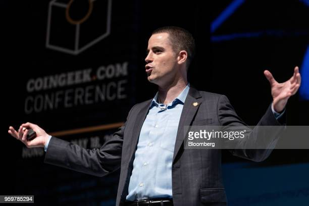Roger Ver chief executive officer of Bitcoincom speaks during the Coingeek Conference in Hong Kong China on Friday May 18 2018 The conference runs...