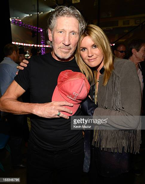 Roger Waters and Grace Potter backstage at the 'Love For Levon' Benefit To Save The Barn at Izod Center on October 3 2012 in East Rutherford New...