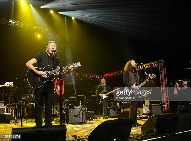 Roger Waters and My Morning Jacket perform on stage during 'Love For Levon' Benefit To Save The Barn at Izod Center on October 3 2012 in East...