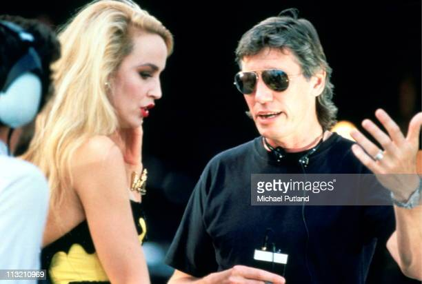 Roger Waters formerly of Pink Floyd backstage with Jerry Hall at the Wall concert Berlin Germany 21st July 1990