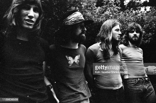 Roger Waters, Nick Mason, David Gilmour, Richard Wright of Pink Floyd, group portrait off stage at Hakone Aphrodite, Japan, 6th August 1971.