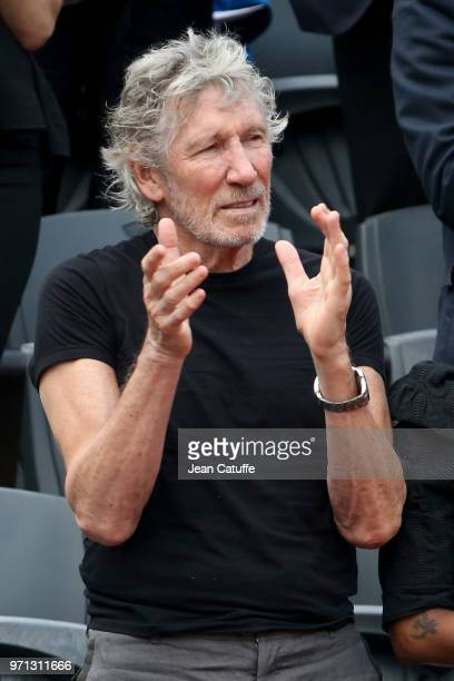 Roger Waters of Pink Floyd during the men's final on Day 15 of the 2018 French Open at Roland Garros stadium on June 10 2018 in Paris France
