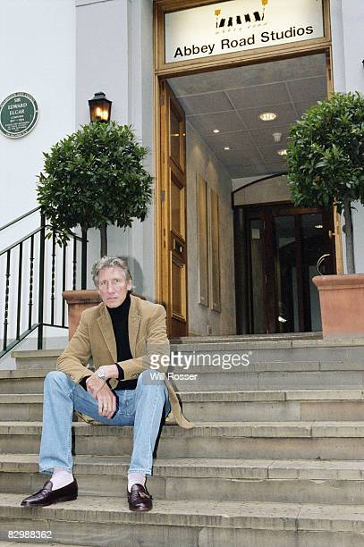 Roger Waters of Pink Floyd sitting outside Abbey Road Studios London circa 2001