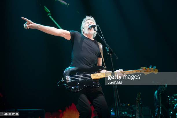 Roger Waters performs on stage during the first date of his Us Them European Tour at Palau Sant Jordi on April 13 2018 in Barcelona Spain