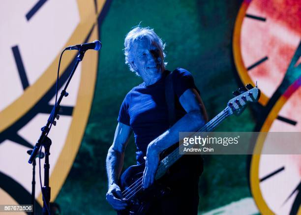 Roger Waters performs on stage during the 'US THEM' tour at Rogers Arena on October 28 2017 in Vancouver Canada