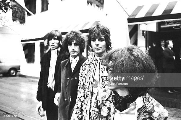 Roger Waters Syd Barrett Rick Wright and Nick Mason of Pink Floyd pose for a group portrait on September 11th 1967 in Copenhagen Denmark