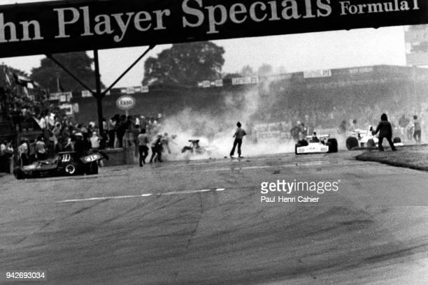 Roger Williamson Wilson Fittipaldi MarchFord 731 BrabhamFord BT42 Grand Prix of Great Britain Silverstone Circuit 14 July 1973 Result of the first...