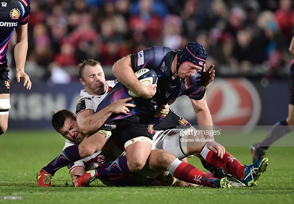 Roger Wilson of Ulster (L) tacklesThomas Waldrom (R) of Exeter Chiefs during the Champions Cup Pool 5 game at Kingspan Stadium on October 22, 2016 in Belfast, Northern Ireland.