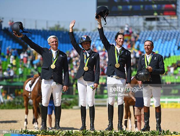 Roger Yves Bost of France riding Sydney Une Prince, Penelope Leprevost of France riding Flora de Mariposa, Kevin Staut of France riding Reveur de...