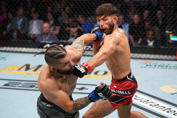 Rogerio Bontorin of Brazil punches Matt Schnell in their bantamweight bout during the UFC 262 event at Toyota Center on May 15, 2021 in Houston,...