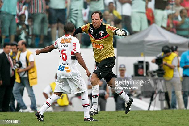 Rogerio Ceni, goalkeeper of Sao Paulo, celebrates his 100th goal during a match against Corinthians as part of the Sao Paulo State Championship at...