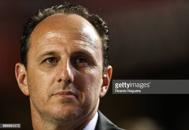 Rogerio Ceni head coach of Sao Paulo looks on during the national anthem prior to a match between Sao Paulo and Avai as a part of Campeonato...