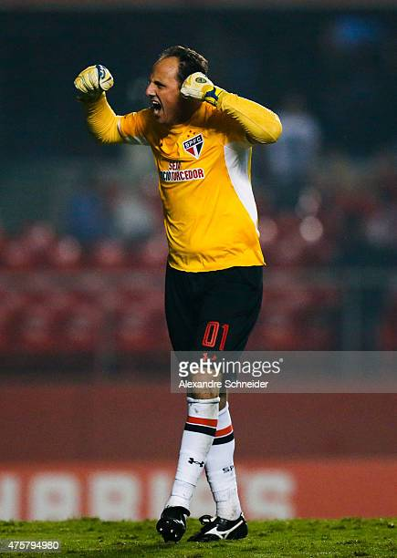 Rogerio Ceni of Sao Paulo celebrates their thirth goal during the match between Sao Paulo and Santos for the Brazilian Series A 2015 at Morumbi...