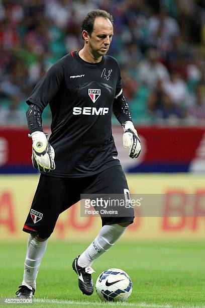 Rogerio Ceni of Sao Paulo in action during the match between Bahia and Sao Paulo as part of Brasileirao Series A 2014 at Arena Fonte Nova on July 16...
