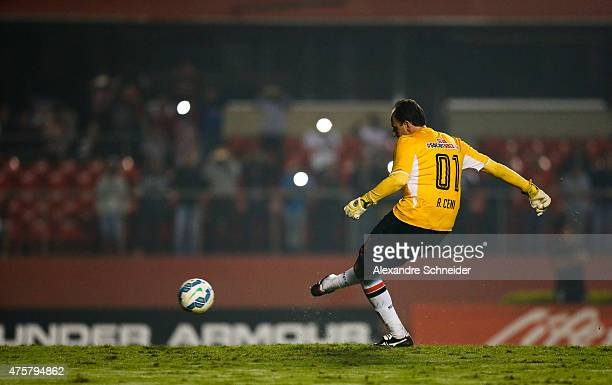 Rogerio Ceni of Sao Paulo scores their thirth goal during the match between Sao Paulo and Santos for the Brazilian Series A 2015 at Morumbi stadium...