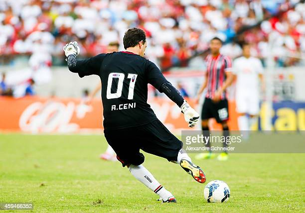 Rogerio Ceni of Sao Pauloin action during the match between Santos and Sao Paulo for the Brazilian Series A 2014 at Arena Pantanal on November 23...