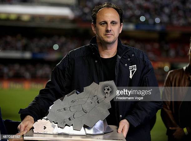 Rogerio Ceni receives a trophy for 25 years playing for Sao Paulo during the match between Sao Paulo and Internacional for the Brazilian Series A...