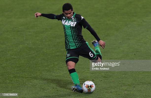 Rogerio of US Sassuolo kicks the ball during the Serie A match between US Sassuolo and Brescia Calcio at Mapei Stadium Citta del Tricolore on March 9...