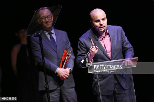 T Rogers and Adam Siegel speak on stage during 32nd Annual Lucille Lortel Awards at NYU Skirball Center on May 7 2017 in New York City