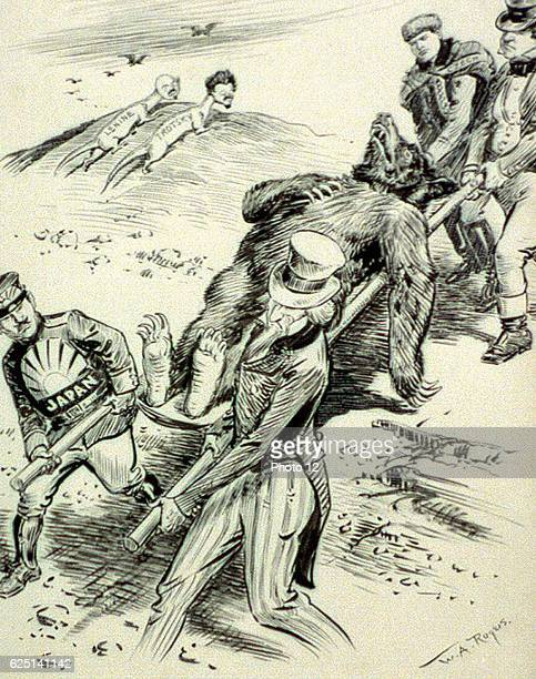 WA Rogers AntiCommunist cartoon of 1918 published during the Red Scare A Hospital Case_Allies _carry a wounded bear while Lenin and Tritsky watch...
