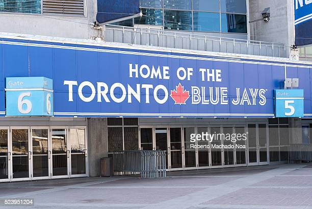 Rogers Centre Center entrance Blue Jays baseball team sign at the topThe Blue Jays represent not only Toronto in the MLB but all Canada