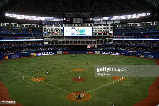 Rogers Centre is shown during the Toronto Blue Jays game against the New York Yankees at Rogers Centre on July 23 2006 in Toronto Ontario Canada The...