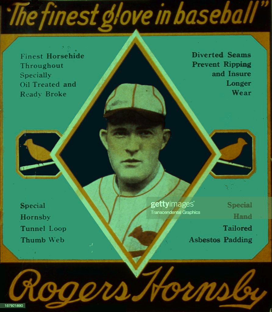 Rogers Hornsby endorses a baseball glove on this box top printed circa 1930 in an unknown location.