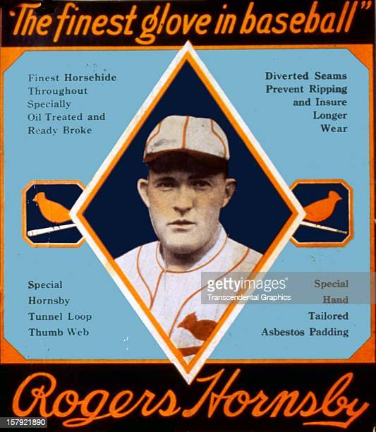 Rogers Hornsby endorses a baseball glove on this box top printed circa 1930 in an unknown location