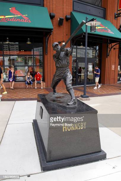 Rogers Hornsby hall of fame statue in front of Busch Stadium home of the St Louis Cardinals in St Louis Missouri on AUGUST 04 2012